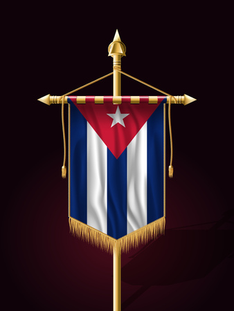 tassel: Flag of Cuba. Festive Banner Vertical Flag with Flagpole. Wall Hangings with Gold Tassel Fringing