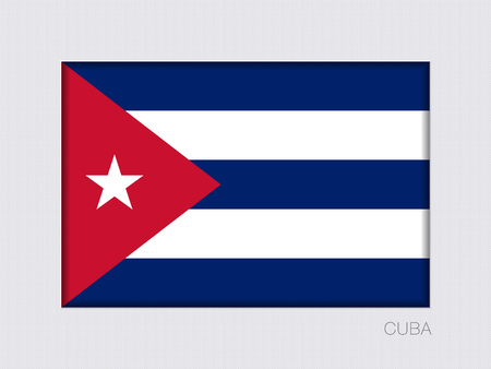 cuban cigar: Flag of Cuba. Rectangular Official Flag with Proportion 2:3. Under Gray Cardboard with Inner Shadow Illustration