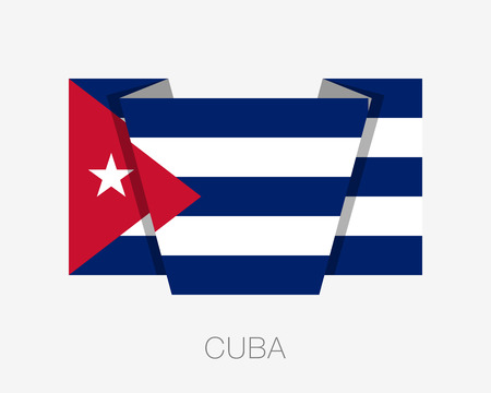 wavering: Flag of Cuba. Flat Icon Wavering Flag with Country Name on a White Background Illustration