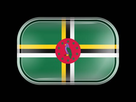 rounded edges: Flag of Dominica. Rectangular Shape with Rounded Corners. This Flag is One of a Series of Glass Flag Icons Illustration
