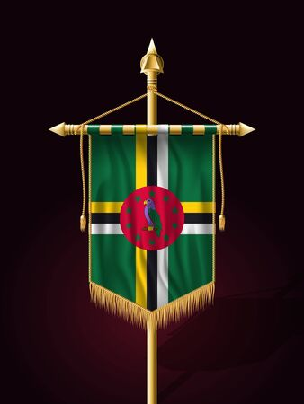 tassel: Flag of Dominica. Festive Banner Vertical Flag with Flagpole. Wall Hangings with Gold Tassel Fringing