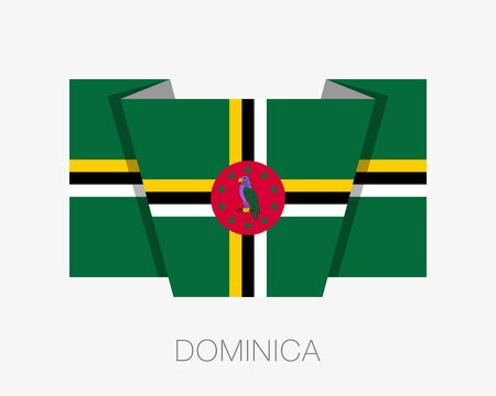 wavering: Flag of Dominica. Flat Icon Wavering Flag with Country Name on a White Background