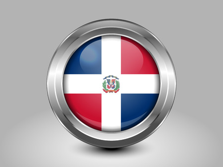 metal button: Flag of Dominican Republic. Metal and Glass Round Icon. This is File from the Collection North America Flags Illustration