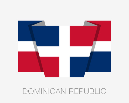 wavering: Flag of Dominican Republic. Flat Icon Wavering Flag with Country Name on a White Background