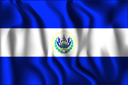 Flag of El Salvador. Rectangular Shape Icon with Wavy Effect