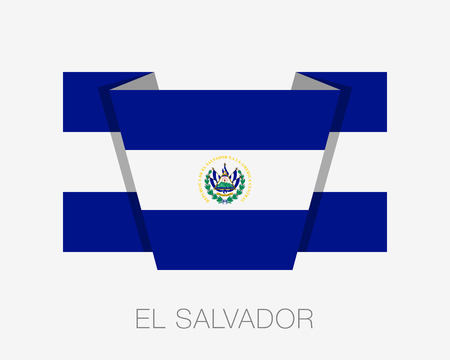wavering: Flag of El Salvador. Flat Icon Wavering Flag with Country Name on a White Background Illustration
