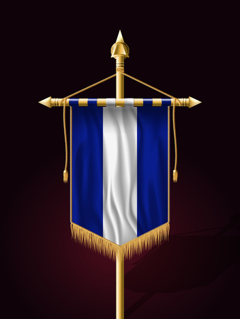 Flag of El Salvador. Festive Banner Vertical Flag with Flagpole. Wall Hangings with Gold Tassel Fringing