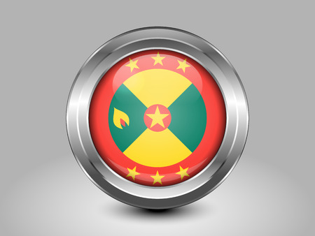 Flag of Grenada. Metal and Glass Round Icon. This is File from the Collection North America Flags Illustration