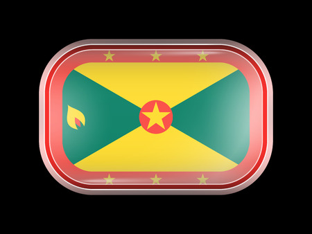 grenada: Flag of Grenada. Rectangular Shape with Rounded Corners. This Flag is One of a Series of Glass Flag Icons