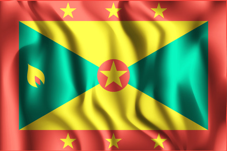 Flag of Grenada. Rectangular Shaped Icon with Wavy Effect. Aspect Ratio 2:3