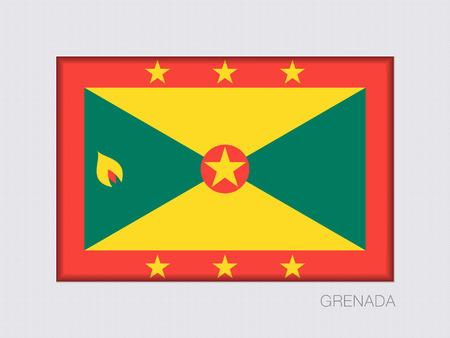 Flagge von Grenada. Rechteckige offizielle Flagge mit Verhältnis 2: 3. Unter grauer Pappe mit innerem Schatten