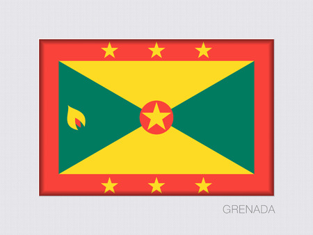 Flag of Grenada. Rectangular Official Flag with Proportion 2:3. Under Gray Cardboard with Inner Shadow Illustration