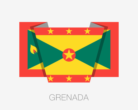 wavering: Flag of Grenada. Flat Icon Wavering Flag with Country Name on a White Background Illustration