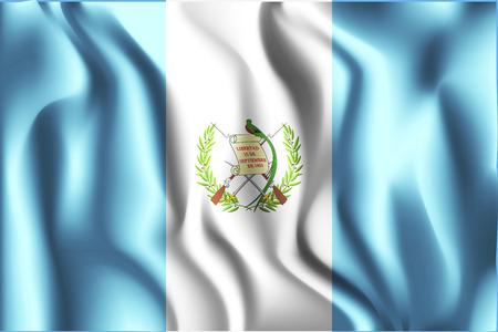 guatemalan: Flag of Guatemala. Rectangular Shaped Icon with Wavy Effect. Aspect Ratio 2:3 Illustration