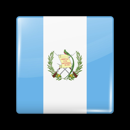 guatemalan: Flag of Guatemala. Glossy Icon Square Shape. This is File from the Collection Flags of North America Illustration