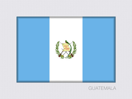 guatemalan: Flag of Guatemala. Rectangular Official Flag with Proportion 2:3. Under Gray Cardboard with Inner Shadow