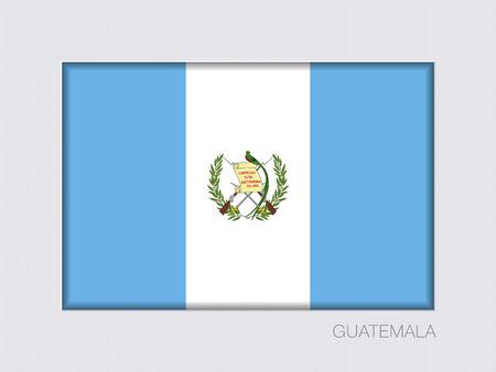 Vlag van Guatemala. Rechthoekige officiële Vlag met Proportion 2: 3. Onder grijs karton met Inner Shadow Stock Illustratie