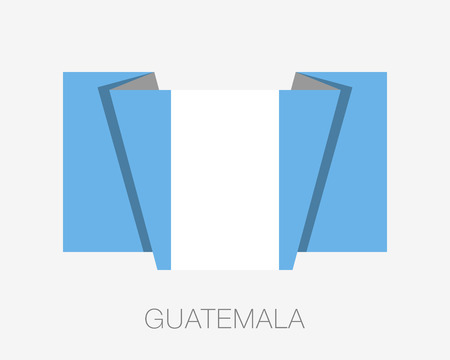 wavering: Flag of Guatemala. Flat Icon Wavering Flag with Country Name on a White Background Illustration