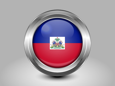 metal button: Flag of Haiti. Metal and Glass Round Icon. This is File from the Collection North America Flags Illustration