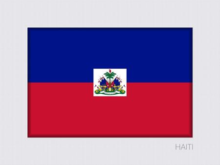 Flagge von Haiti. Rechteckige offizielle Flagge mit Proportion 2: 3. Unter grauen Karton mit Schatten nach innen