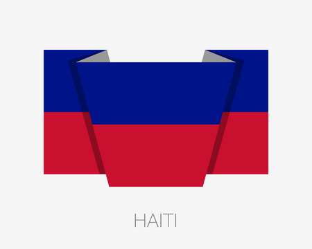 wavering: Flag of Haiti. Flat Icon Wavering Flag with Country Name on a White Background Illustration