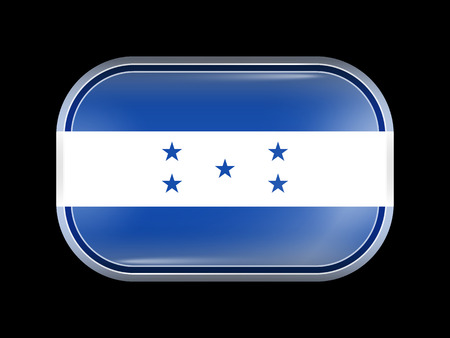 Flag of Honduras. Rectangular Shape with Rounded Corners. This Flag is One of a Series of Glass Flag Icons Illustration
