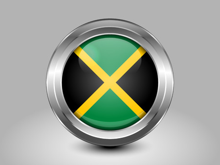jamaican: Flag of Jamaica. Metal and Glass Round Icon. This is File from the Collection North America Flags
