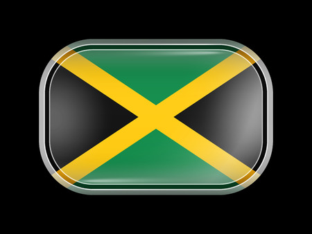 Flag of Jamaica. Rectangular Shape with Rounded Corners. This Flag is One of a Series of Glass Flag Icons
