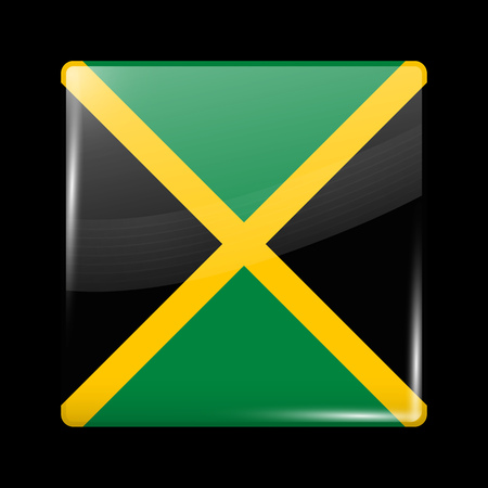 jamaican: Flag of Jamaica. Glossy Icon Square Shape. This is File from the Collection Flags of North America