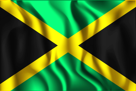 kingston: Flag of Jamaica. Rectangular Shaped Icon with Wavy Effect. Aspect Ratio 2 to 3
