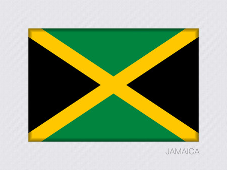 Flag of Jamaica. Rectangular Official Flag. Aspect Ratio 2 to 3. Under Gray Cardboard with Inner Shadow