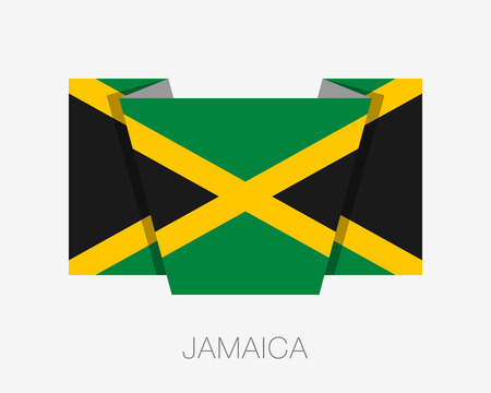 Flag of Jamaica. Flat Icon Wavering Flag with Country Name on a White Background Illustration