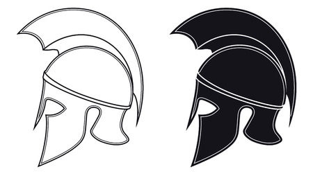 Black and White Vector Illustration of a Side Silhouette on Ancient Greek Warrior Helmet. Spartan Helmet. Roman Helmet Иллюстрация
