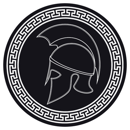白い背景上の盾の紋章と古代ギリシャのヘルメット。シルエットのスパルタン ヘルメット。ローマのヘルメットをベクトルします。