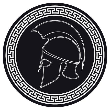 Greco antico casco con una cresta sullo scudo su uno sfondo bianco. Silhouette del casco Spartan. Vector Roman Helmet Archivio Fotografico - 66666954