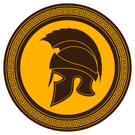 Oude Griekse Helm met een Crest op het schild op een witte achtergrond. Silhouette Spartan Helmet. Vector Roman Helm Stock Illustratie