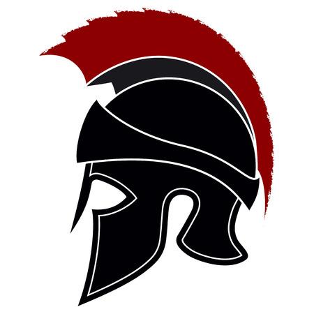 Silhouette Greek Helmet with a Red Crest on a White Background. Spartan Helmet. Roman Helmet Illustration