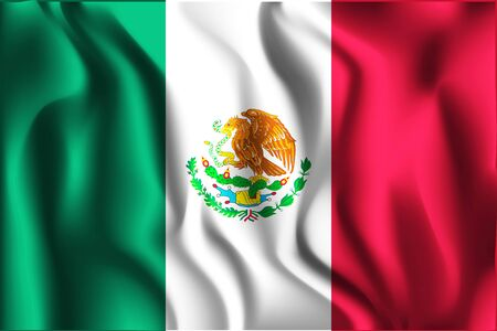 Flag of Mexico. Rectangular Shaped Icon with Wavy Effect. Aspect Ratio 2 to 3 Illustration