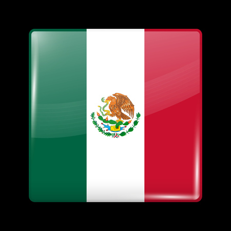 Flag of Mexico. Glossy Icon Square Shape. This is File from the Collection Flags of North America Illusztráció