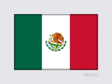 Vlag van Mexico. Rechthoekige officiële Vlag. Beeldverhouding 2 tot 3. Onder grijs karton met Inner Shadow