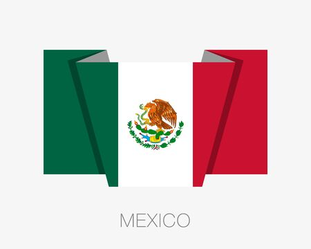 wavering: Flag of Mexico. Flat Icon Wavering Flag with Country Name on a White Background
