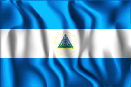 Flag of Nicaragua. Rectangular Shaped Icon with Wavy Effect. Aspect Ratio 2 to 3 Illustration