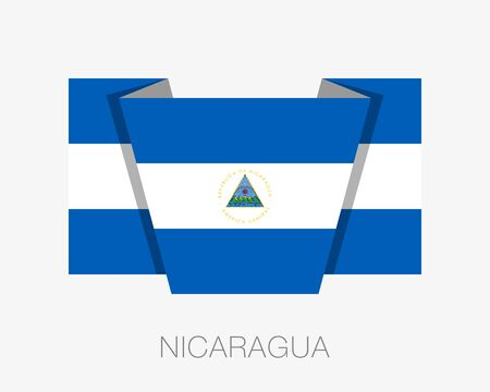 wavering: Flag of Nicaragua. Flat Icon Wavering Flag with Country Name on a White Background