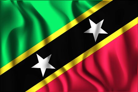 Flag of Saint Kitts and Nevis. Rectangular Shaped Icon with Wavy Effect. Aspect Ratio 2 to 3