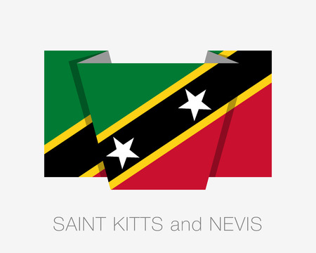 wavering: Flag of Saint Kitts and Nevis. Flat Icon Wavering Flag with Country Name on a White Background Illustration