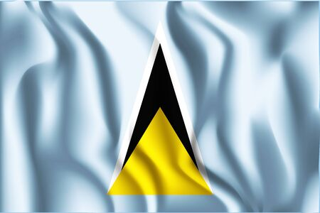 Flag of Saint Lucia. Rectangular Shaped Icon with Wavy Effect. Aspect Ratio 2 to 3 Illustration
