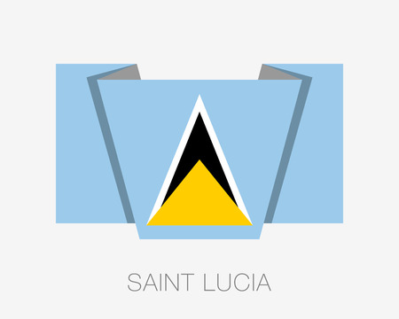 wavering: Flag of Saint Lucia. Flat Icon Wavering Flag with Country Name on a White Background