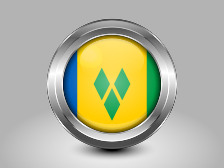 windward: Flag of Saint Vincent and the Grenadines. Metal and Glass Round Icon. This is File from the Collection North America Flags