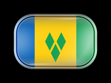 windward: Flag of Saint Vincent and the Grenadines. Rectangular Shape with Rounded Corners. This Flag is One of a Series of Glass Flag Icons