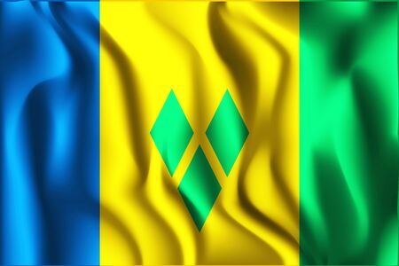 Flag of Saint Vincent and the Grenadines. Rectangular Shaped Icon with Wavy Effect. Aspect Ratio 2 to 3